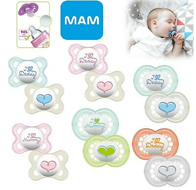 Mam Baby Soother Dummy Pacifier Teat Nipple 6m+ 12m+ 2 Pack Boy / Girl I Love