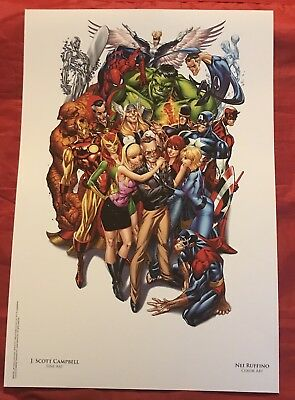 Avengers #1 SDCC Heroes Campbell Unsigned Color Litho NOT SIGNED By Stan Lee