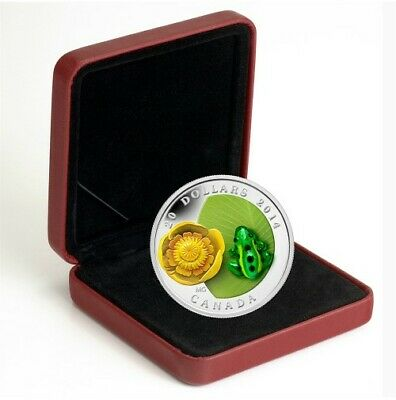 """2014 RCM """"Water Lily and Leopard Frog"""" Murano Glass $20 fine silver coin."""