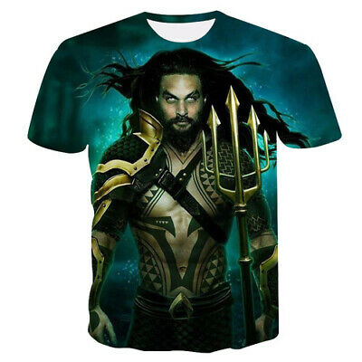 3D Print Superhero Movie Aquaman Women Men TShirt Short Sleeve Tee Top Oversized