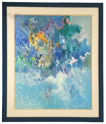 An abstract large painting of an outdoor scene titled reflection blue