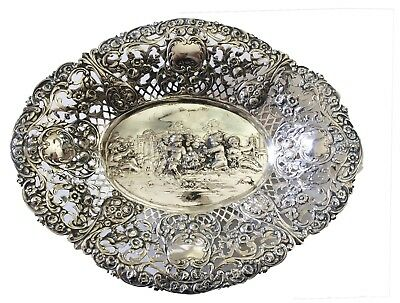 German 800 Silver Pierced Oval Bowl, C.1900