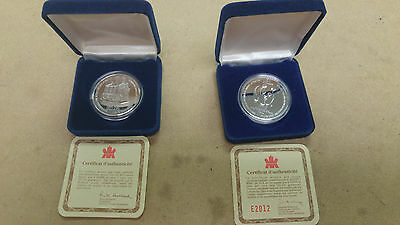 Two 2 Eaton Commemorative $50 Gift Medallion 1994,1995 .9999 Silver  1oz each