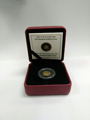 2013 1/25 oz Gold Coin Owl Shaman holding Goose - PROOF - CANADIAN - RCM