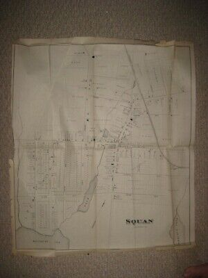 RARE LARGE ANTIQUE 1878 SQUAN now MANASQUAN NEW JERSEY MAP DETAILED RARE NR