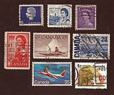 CANADA 8 1953-1995 QUEEN ELIZ II, AIRCRAFT, TREES +Stamps Used SeeDescr   FUS497