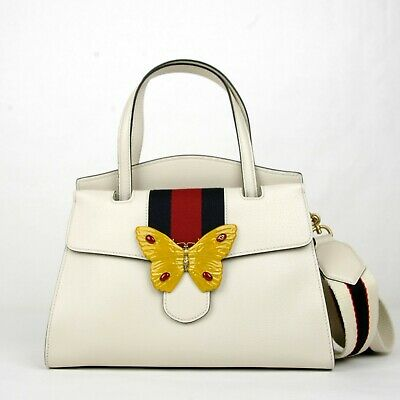20aaeab43167 $3490 Gucci Ivory Leather Butterfly Totem Medium Top Handle Bag 505344 9674