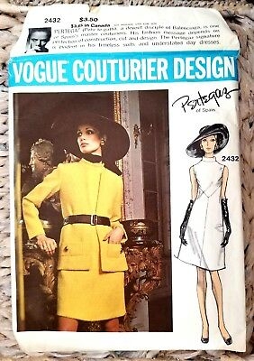 PERTEGAZ 60's VOGUE COUTURIER DESIGN VINTAGE PATTERN # 2432 DRESS WITH JACKET 14