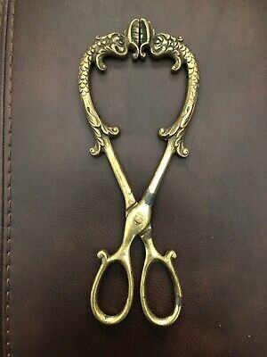 "Vintage Cast Brass Coal Hearth Tongs Figural Serpents 9 1/2"" Ornate Antique"