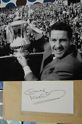 Spurs Dave Mackay Signed Card Plus 1967 Fa Cup Win Photo 10X8 Photo