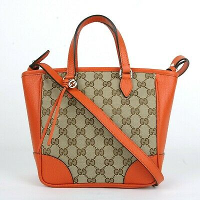 250058d84140 Gucci Brown Orange GG Canvas Small Tote Crossbody Bag w Orange Trim 449241  4503