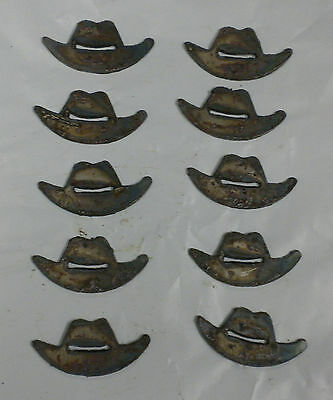 Lot of 10 Cowboy Hats 2 Inch Rusty Metal Vintage Craft Stencil Ornament Magnet