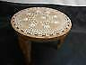 Antique SHISHAM SHEESHAM WOOD TABLE Plant Stand Bone Inlaid Elephant Motif India