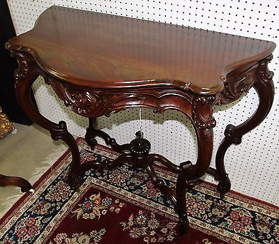 Antique French Cabriole Hand Carved Walnut Console Table Secret Drawer Circa1870