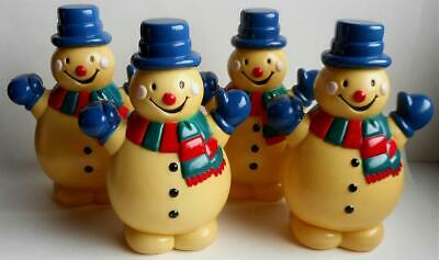 "4 Vintage Hard Plastic Cute Happy Snowmen Christmas Decorations 8"" Tall Lighted?"