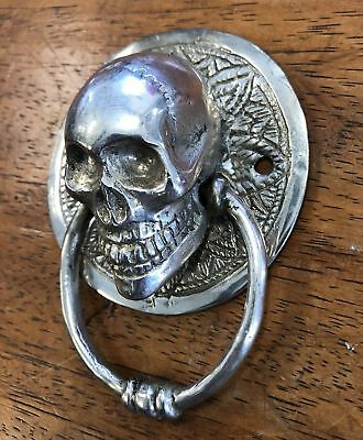 SKULL head ring pull Handle pure BRASS silver 7.5 cm day of the dead cabinet B