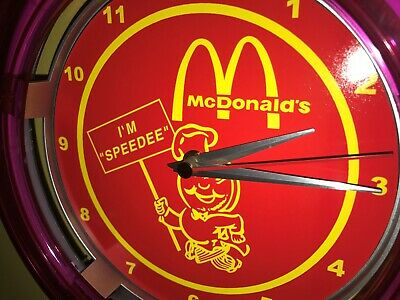 McDonald's Speedee Diner Restaurant Kitchen Bar Man Cave Neon Wall Clock Sign