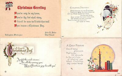 Lot of 14 Early Christmas Greetings & Poems Postcards #138058 R
