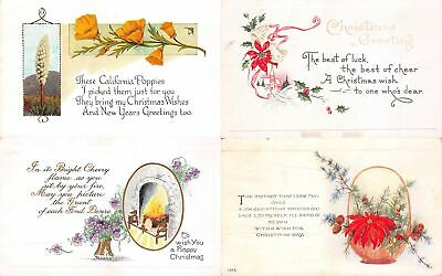 Lot of 16 Early Christmas Poems & Flowers Postcards #138020 R