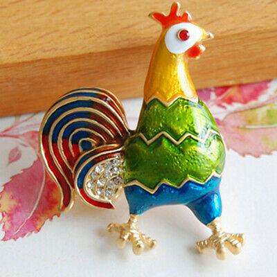 Tone Light High-grade Colored Rhinestones Chicken Rooster Hen Brooch Pin