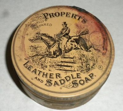 PROPERT'S LEATHER & Saddle Soap Vintage Advertising Tin Uncleaned