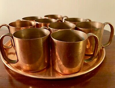 Vtg 40s AMERICAN METALCRAFT Solid Copper Kicking Moscow Mule Mug Set w/ Tray