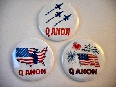 3 Lot Patriotic Qanon Button Pin Set Maga Q Anon  For The Great Awakening Usa