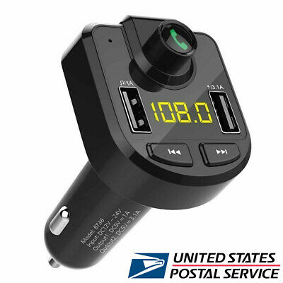 US Cigarette Lighter Wireless Bluetooth FM Transmitter LCD MP3 Player + USB Port