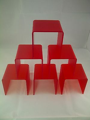 Bridge Display Step Shop Window Riser Plinth Red Frosted Acrylic Perspex