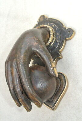 hand fist ball front Door Knocker fingers solid brass hollow 16 cm old style