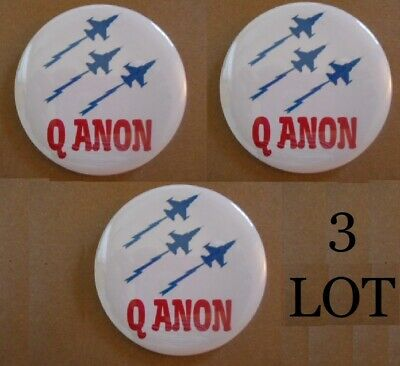 3 Lot Patriotic Qanon Button Pins Jets For Q Anon The Great Awakening Usa Maga