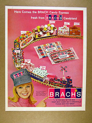 1966 Brach's Candy Express locomotive train pretty engineer photo print Ad