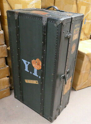 Vintage Wooden TRAVEL TRUNK SUITCASE CASE Material Lined Hangers #22