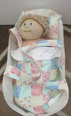 """Dolls Carry Cot / Basket (Mattress,Blanket,Pillow)""""Patch Look Creame,Yellow ETC"""""""