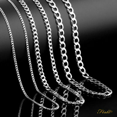 925 Mens Sterling Silver Curb Chain Necklace Bracelet UK Store