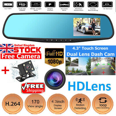4.3'' HD Dual Lens Car DVR Dash Cam Front Rear Mirror Camera Touch Recorder UK