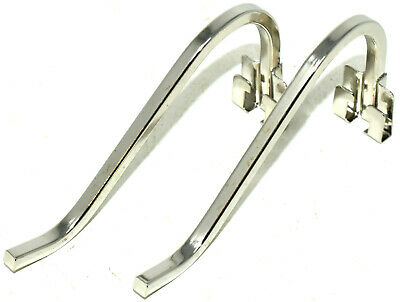 2 x SMALL NICKEL CURL UP & STAND SQUARE WIRE PICTURE FRAME PHOTO CLIP ON STANDS