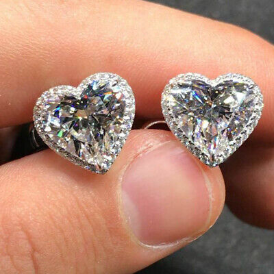 2.00 Ct Diamond Heart Shape Halo Solitaire Stud Earrings 14k White Gold Finish