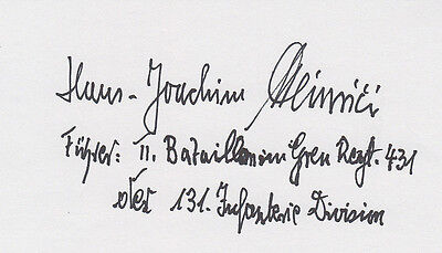 Knights Cross Captain Hans-Joachim Heinrici Leader Grenadier-Reg. 431 SIGNED 3x5