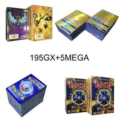 200pcs Pokemon carte 195 GX Toutes 5 MEGA Holo Flash Art Trading Cards Cadeau