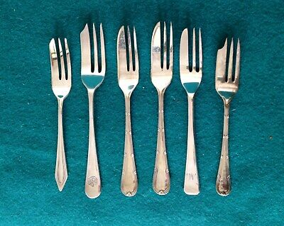 Set of 6 Mixed Vintage  Silver Plated Pastry or Cake Forks VGC Afternoon Teas