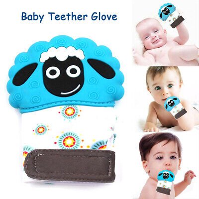 Baby Molar Gloves Silicone Mitts Teether Teething Gel Chew Mitten Toy Wrapper