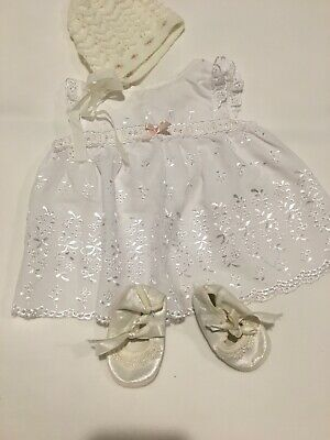 Beautiful Doll Dress Bonnet And Satin Shoes