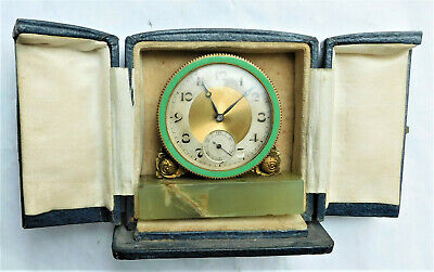 NO RESERV Art Deco 1930s Leather Cased Travel Mantel Carriage Desk Clock Vintage