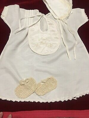 Vintage Hand Made Doll Dress Set Clothing Crochet Booties