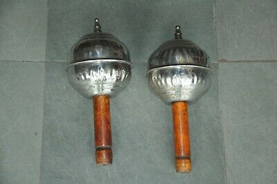 2 Pc Old Iron/Steel & Wooden Handcrafted Rattle Musical Instrument,Collectible