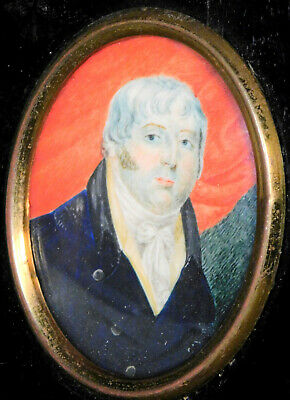 Antique English Painting Portrait Miniature SCRUFFY Beard Man COLORFUL Early