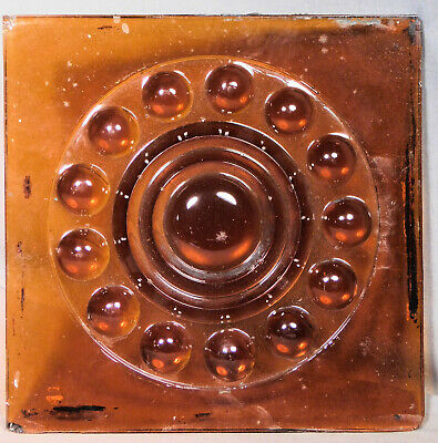 Antique Architectural Embossed Pressed Window Glass Square AMBER Pane Bullseye