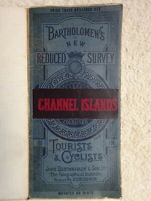 Vintage Antiq BARTHOLOMEW'S Coloured MAP for Tourists & Cyclists CHANNEL ISLANDS