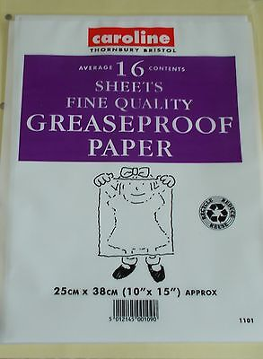 """16 SHEETS GREASEPROOF PAPER 10"""" x 15"""" NEW"""